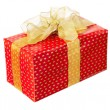 Stock Photo: Present box with ribbon isolated