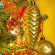 Christmas fir tree with colorful lights close up — Stock Photo #9604052
