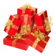 Present boxes with ribbon isolated on white background — Stock Photo