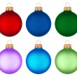 Different colored christmas balls hanging — Stock Photo