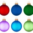 Different colored christmas balls hanging — ストック写真