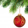 Christmas tree branch with Christmas ball isolated on white — Stock Photo