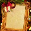 Gold antique frame over abstract bokeh background — Stock Photo