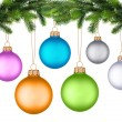 Royalty-Free Stock Photo: Christmas tree branch with Christmas ball isolated on white