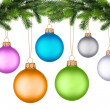 Christmas tree branch with Christmas ball isolated on white — Stock fotografie