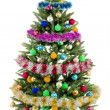 Christmas fir tree with colorful lights close up — Stock Photo #9606255