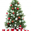 Christmas fir tree with colorful lights close up — 图库照片 #9606315
