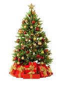 Julgran gran med färgglada lampor på nära håll — Stockfoto
