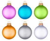 Different colored christmas balls hanging — Foto Stock