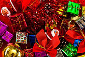 Red, Green, Gold, and Silver Wrapped Holiday Christmas Gifts — Stock Photo