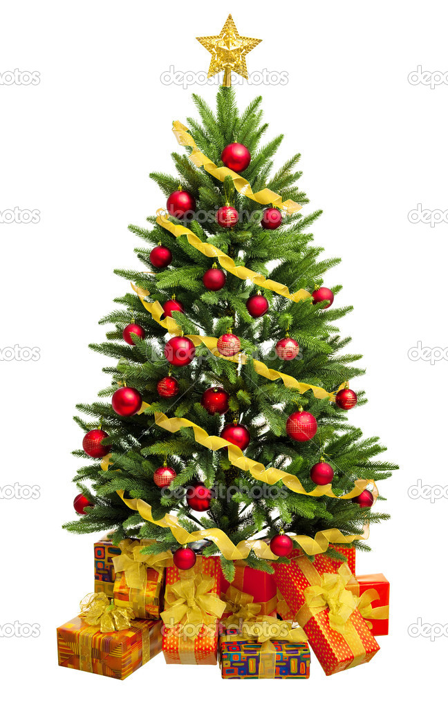 Christmas Tree and Gifts. Over white background — Stock Photo #9603058