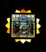Stained glass window in St.Vitus cathedral — Stock Photo