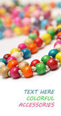 Beautiful colorful beads on white background — Photo