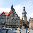 Old Town and fragment of Katholische Hofkirche, Dresden, Germany. - Stock Photo