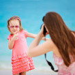 Mother photographing her daughter — Stock Photo #10557349