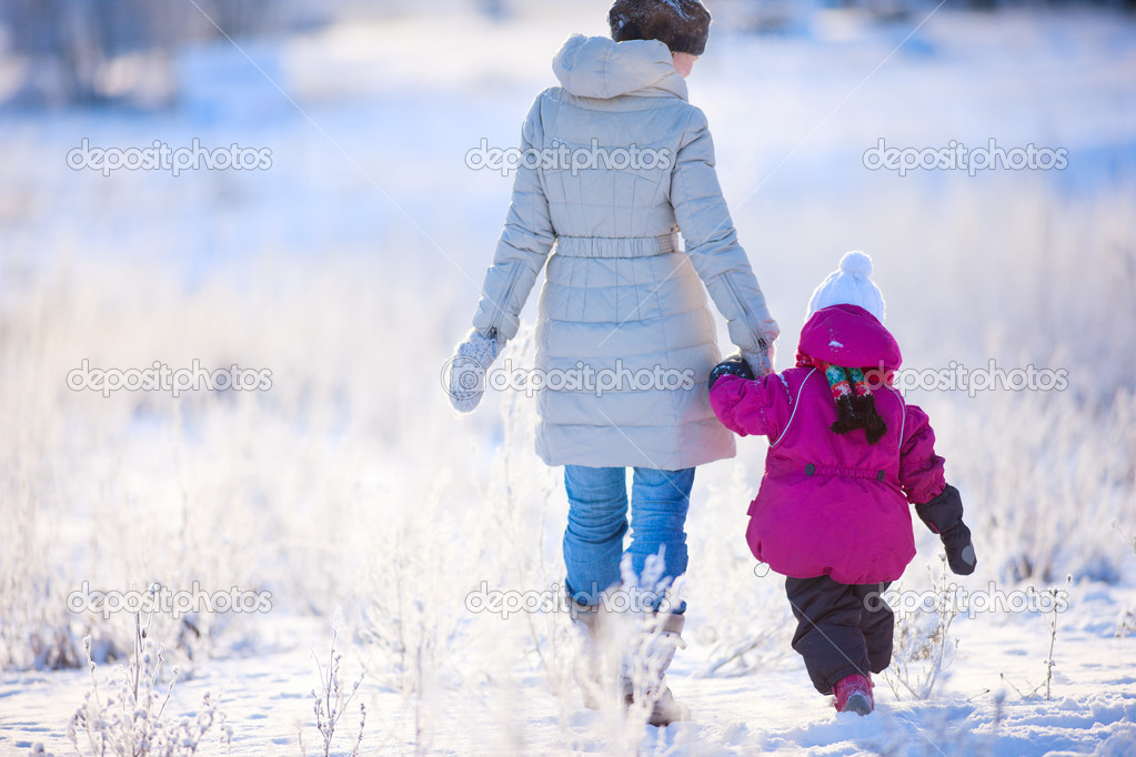 Back view of mother and daughter walking on winter day  Stock Photo #8855224