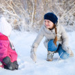 Mother and daughter outdoors at winter — Stock Photo #9027155
