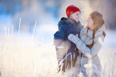 Mother and son winter portrait — Stock Photo