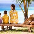 Family enjoying ocean view — Stock Photo