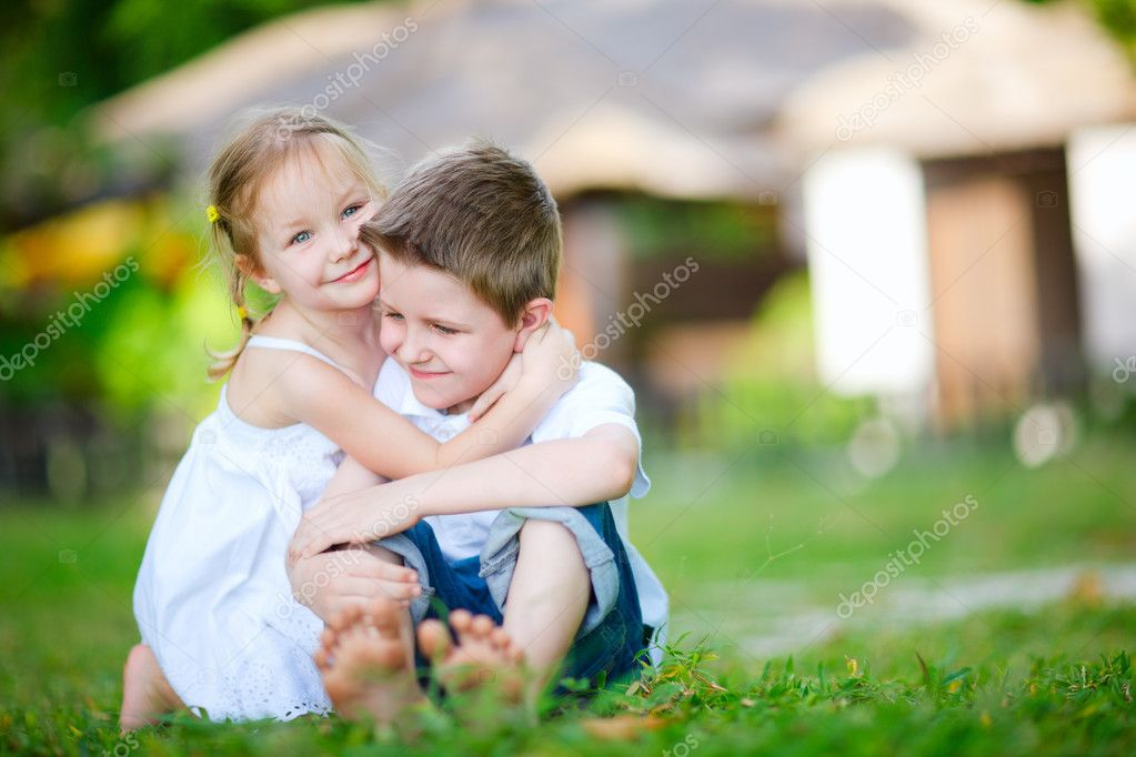Adorable happy kids outdoors on summer day  Foto de Stock   #9649056