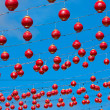 Many red Chinese lanterns - Foto Stock