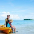 Mother and son after kayaking — Stock Photo #9785906