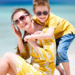 Mother and son at beach — Stock Photo #9813550