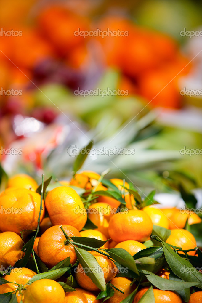 Selection of fresh oranges at market for sale  Stock Photo #9922174