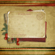 Vintage background with Christmas postcard — Stock Photo