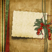 Vintage Christmas background with old card — Stock Photo