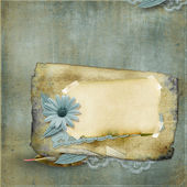Vintage background with old card and flower — Stock Photo