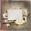 Vintage background with old card and film strip — Stock Photo