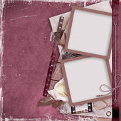 Vintage background with film strip and frame — Stock Photo