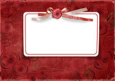 Red Valentine's day background with card — Zdjęcie stockowe