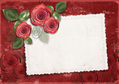 Red Valentine's day background with card and roses — Stock Photo
