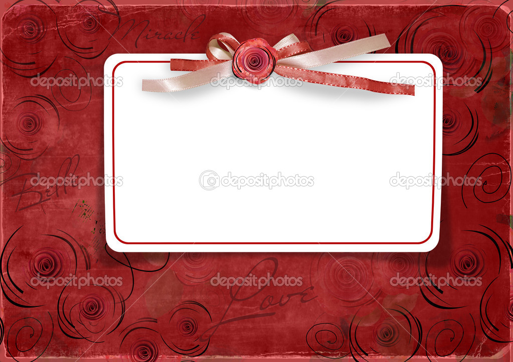Red Valentine's day background with card and roses — Stock Photo #8017185