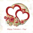 Greeting Card to Valentine's Day with roses&hearts — 图库照片