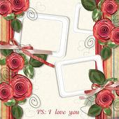 Beautiful retro card with roses for congratulations or invitati — Stock Photo