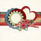 Retro card for congratulations or invitation with flowers — Stock Photo