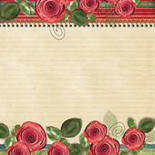 Retro background with beautiful roses for congratulations and in — Stock Photo