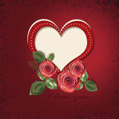 Greeting card with heart and roses — Stock Photo