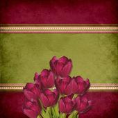 Fond vintage avec des bouquets de tulipes — Photo