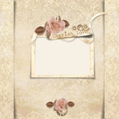 Old frame with roses on victorian background — Stock Photo
