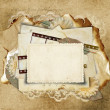 Vintage background with old cards — Stock Photo