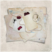 Vintage background with old cards and cameo — Stock Photo