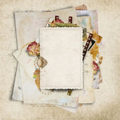 Vintage background with old cards and filmstrip — Stock Photo