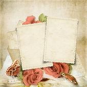 Fondo vintage con tarjetas viejas y rosa — Foto de Stock