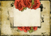 Grunge background with card and roses — Stock Photo