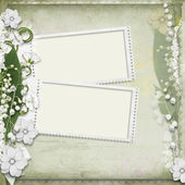 Vintage background with frame and white spring flowers — Stock Photo