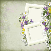 Vintage background with frame and spring flowers — Stock Photo